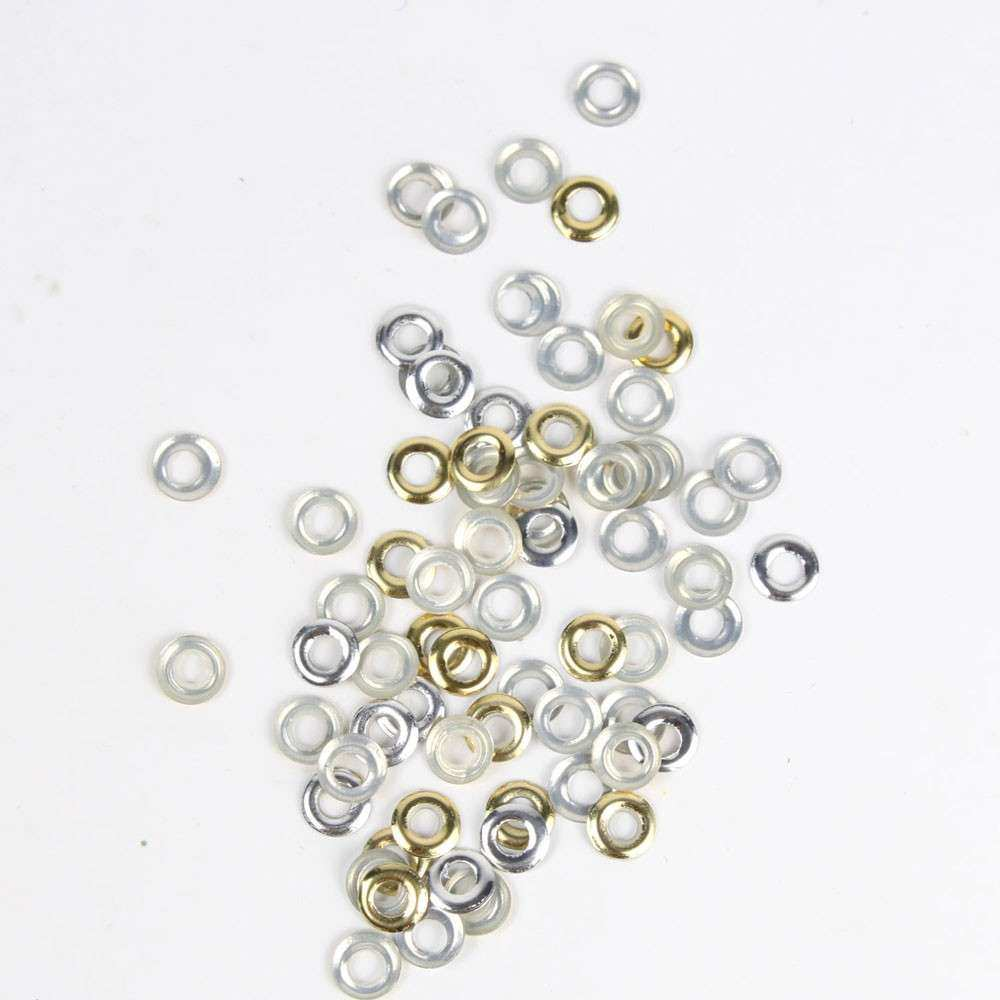 Metal Circle Studs Nail Art Decals Gold & Silver 5mm Set