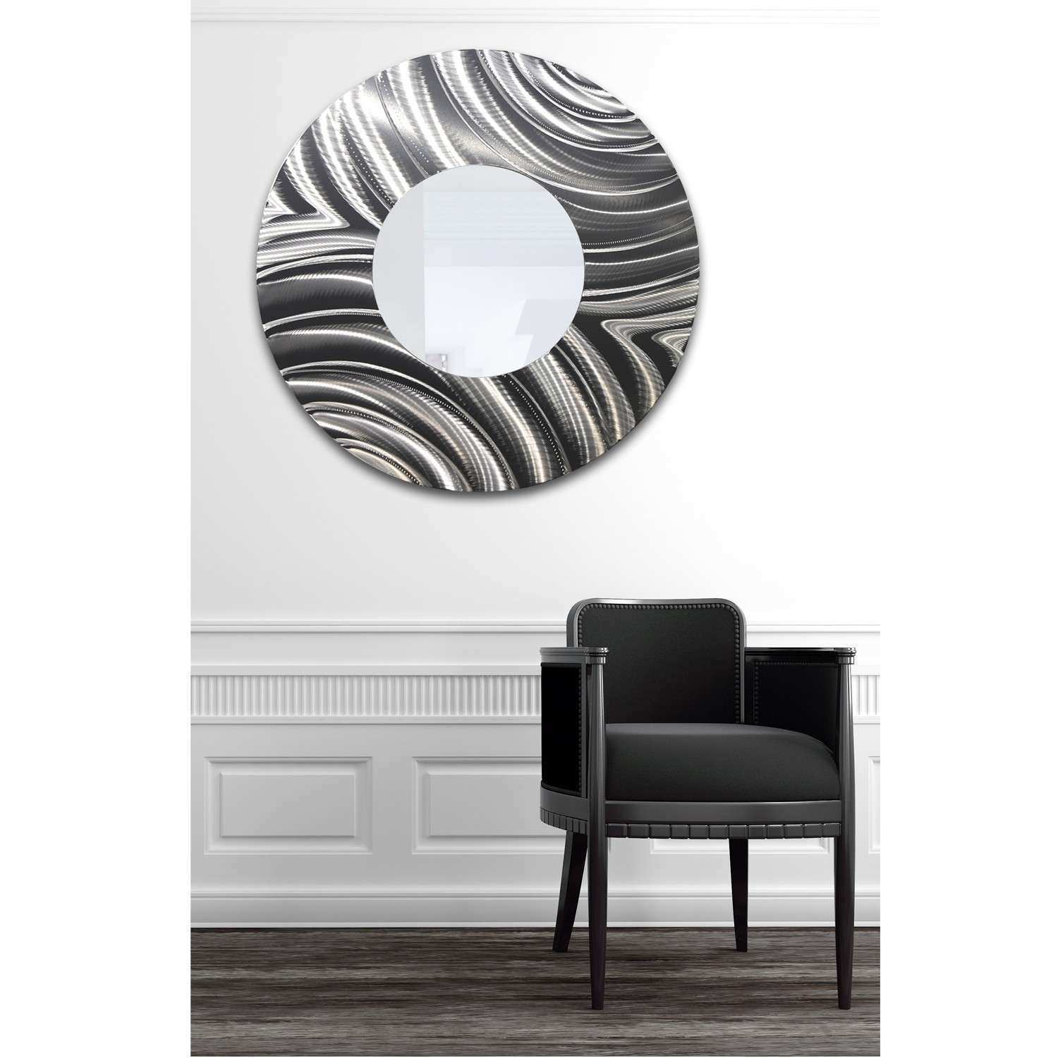 Mirrror 112 Round Silver Contemporary Metal Wall Art