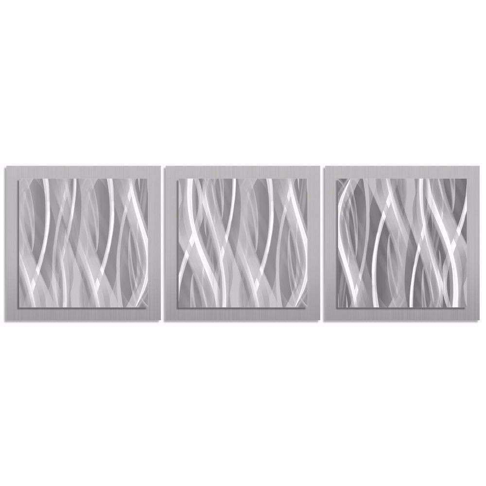Modern Silver Wall Art Contemporary Metal Artwork Abstract