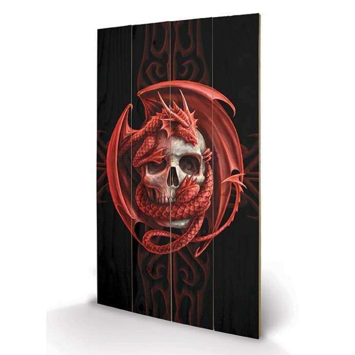 Anne Stokes Skull Embrace Wooden Wall Art