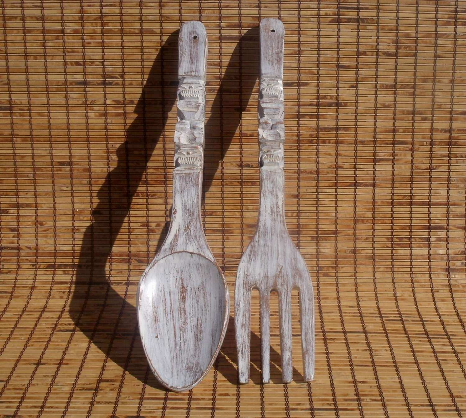 Big Fork and Spoon White Wall Decor Distressed White Kitchen