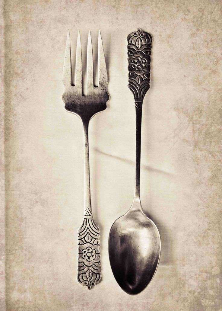 Food graphy Antique Fork & Spoon Print Kitchen Wall