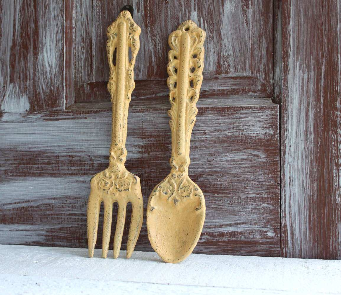 Fork and Spoon wall decor Yellow Oversized utensils