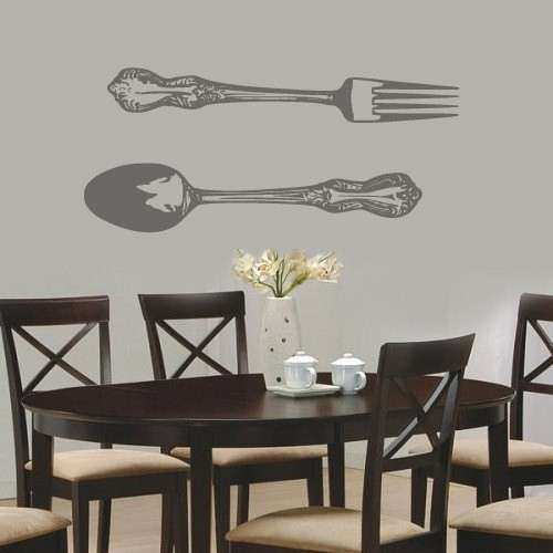 Spoon and fork Wall Decor Lovely Spoon and fork Vinyl Wall Decal Sticker by