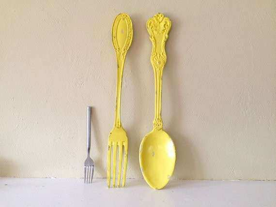 large fork and spoon wall decor distressed shabby chic Sunny