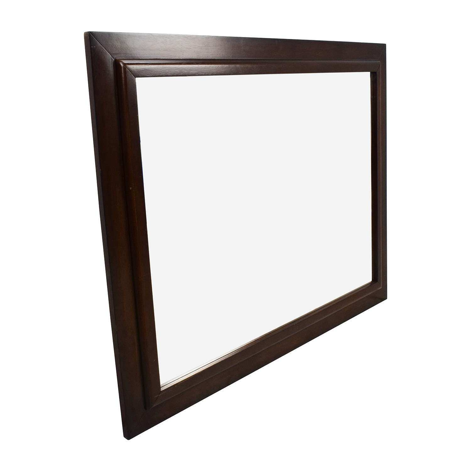 OFF Square Wood Framed Wall Mirror Decor