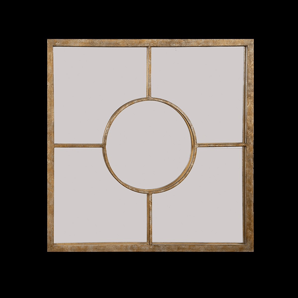 James Mottled Gold Square Decorative Wall Mirror By Old