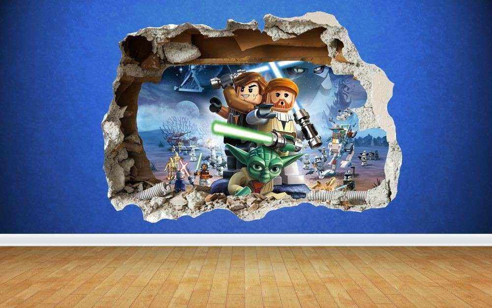 Lego Star Wars 3D Style smashed wall sticker kids