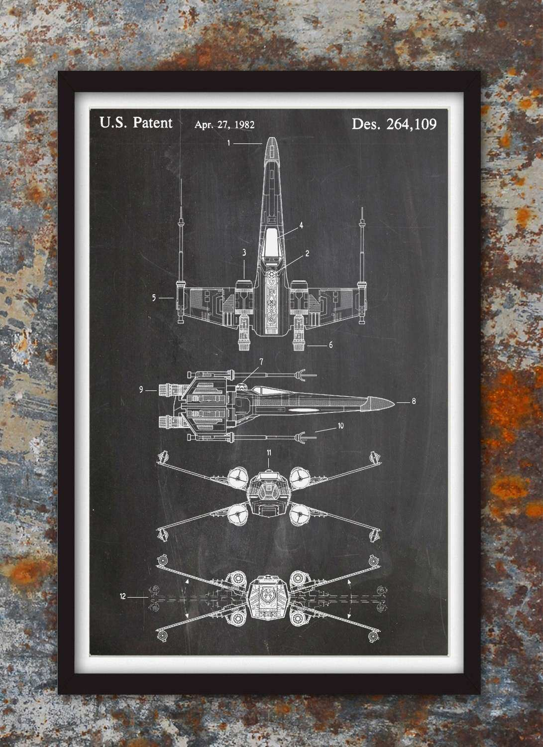 X Wing Fighter Star Wars Wall Patent Print Patent Art Star