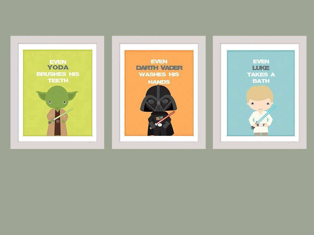 Stars Wars Bathroom Rules Wall Art Star Wars Set of 3