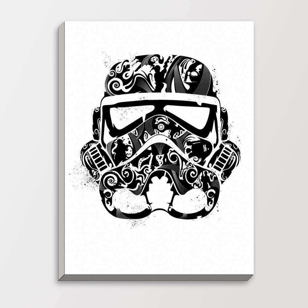 Star Wars Abstract Trooper Mask Minimalist Black White Pop