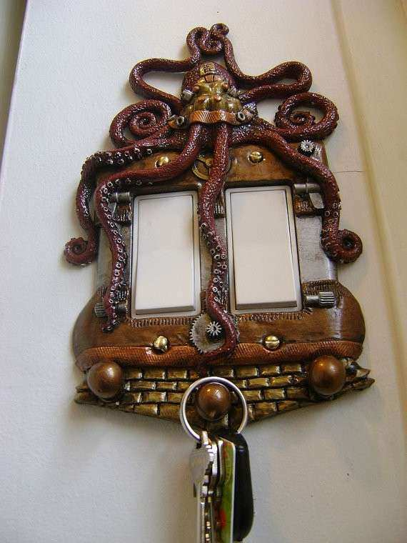 Red Octopus Steampunk Rocker style Light Switch Cover with