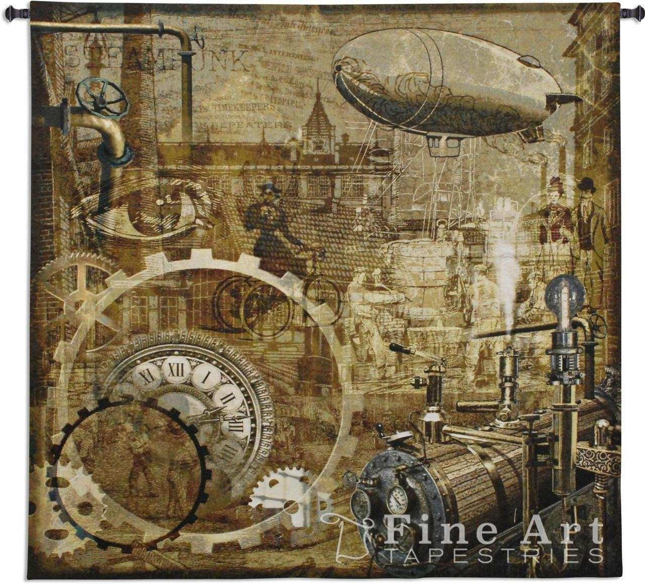 """Steampunk Tapestry Wall Hanging Art Reproduction H51"""" x"""