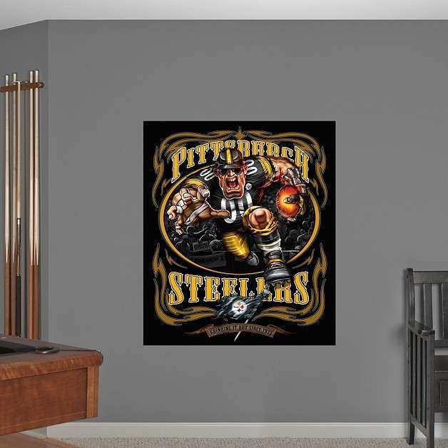 Steamroller Steeler Grinding It Out Mural Wall Decal