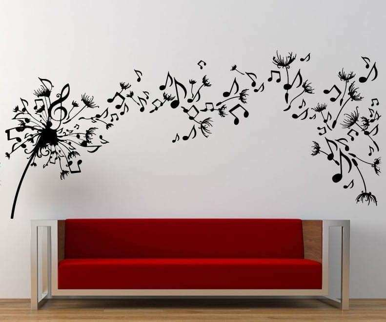 Stickers for Wall Decor Beautiful Music Dandelion Wall Art Decal Wall Decal  sc 1 st  Emily Garrison & Stickers for Wall Decor Beautiful Music Dandelion Wall Art Decal ...