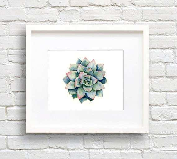 Succulent Art Print Plant Wall Decor Watercolor Painting