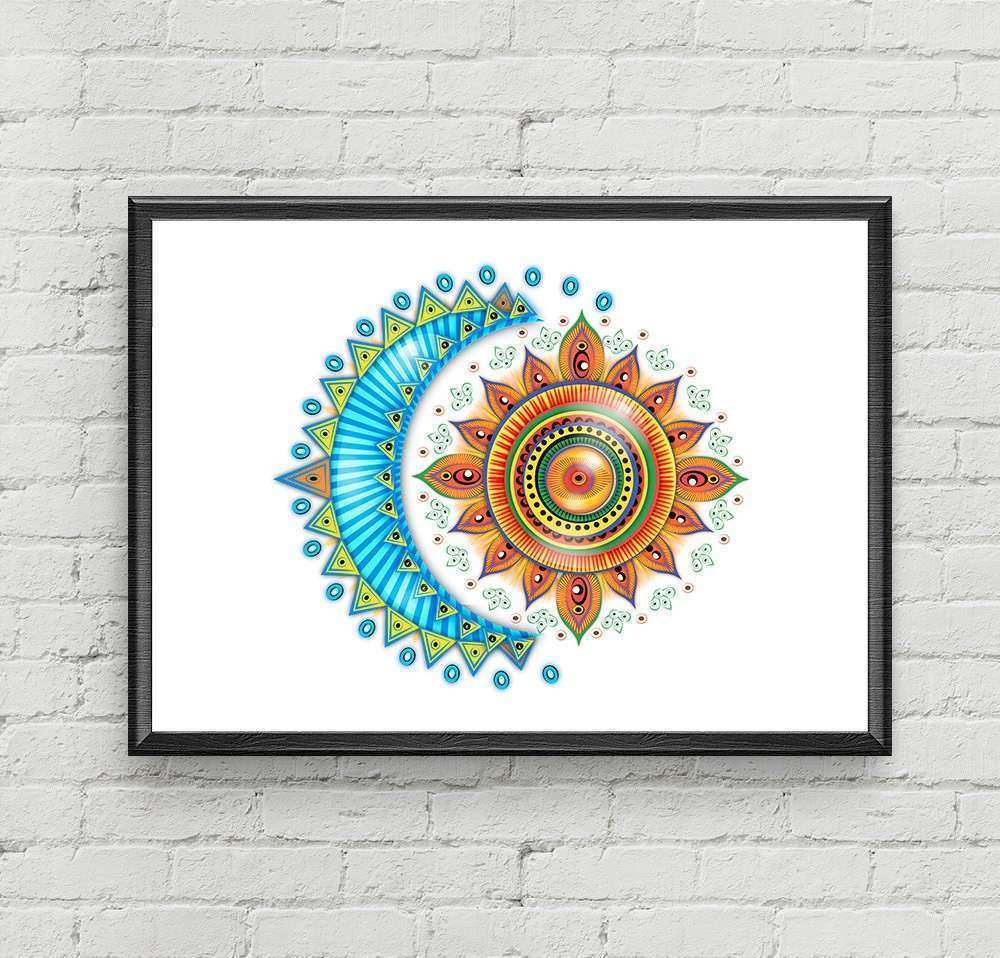 Moon Sun Art Moon and Sun Print Art Moon Wall Decor Sun