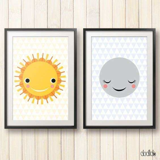 Sun and Moon children s illustration kids poster nursery