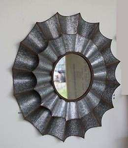 Zinc Galvanized Metal Mirror Wall Decor Art Deco Modern