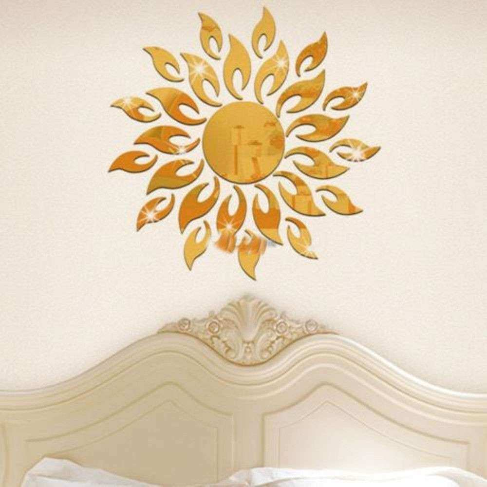 Sunflower Mirror Removable Wall Art Stickers Vinyl DIY