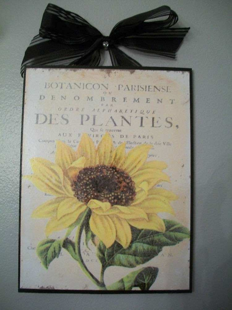 Sunflower Vintage French Cottage Chic Wall Decor