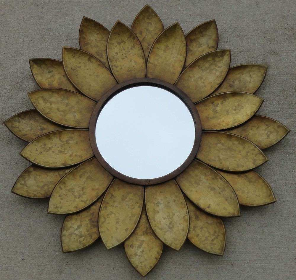 Handcrafted Sunflower Mirror Wall Hanging Metal Art Decor