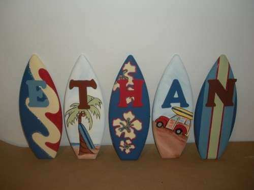 1ft surfboard surf wall decor letter signs personalized