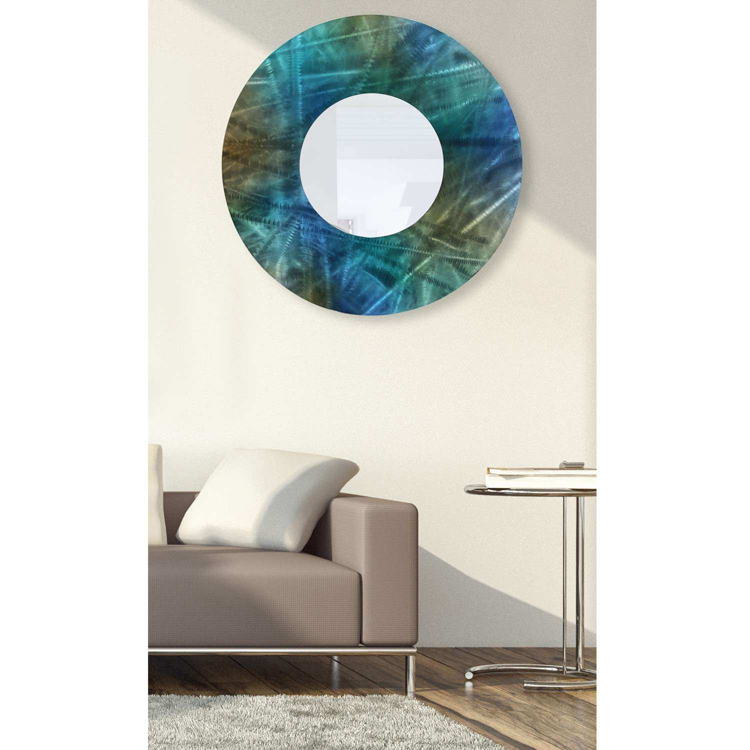 Mirror 103 Round Blue Teal and Brown Abstract Metal