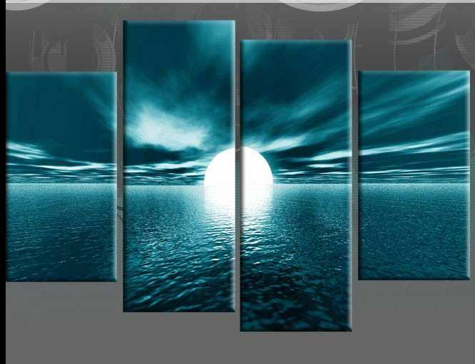 Wall Art Design Ideas Four Separated Canvas Teal Wall Art