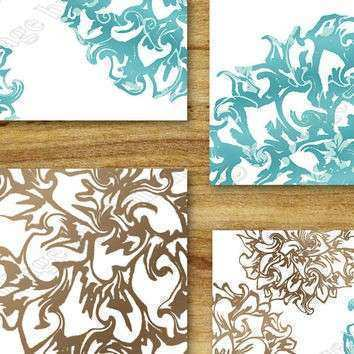 Teal Brown Aqua Wall Art Prints Decor from collagebycollins on