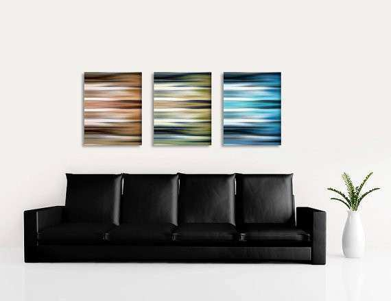 Brown beige blue abstract wall art set by