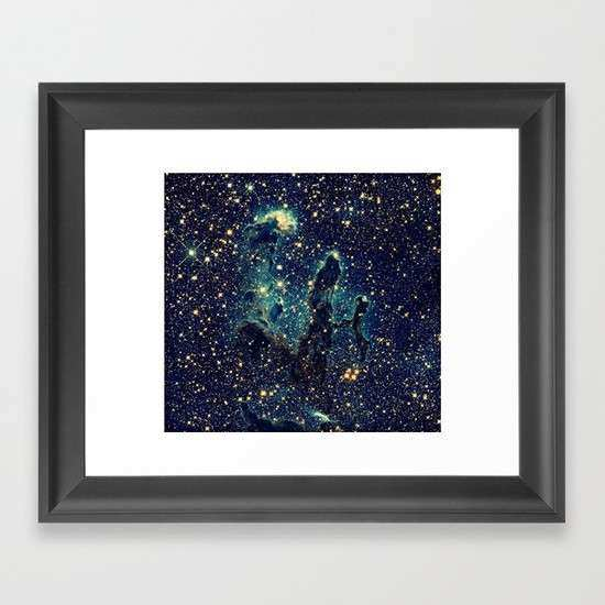 Pillars of Creation GalaxY Teal Blue & Gold Framed Art