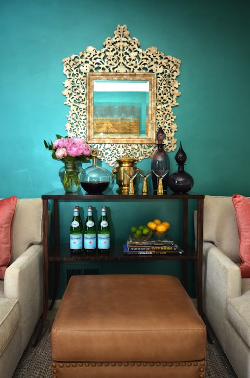 Dalliance Design living rooms teal walls teal living