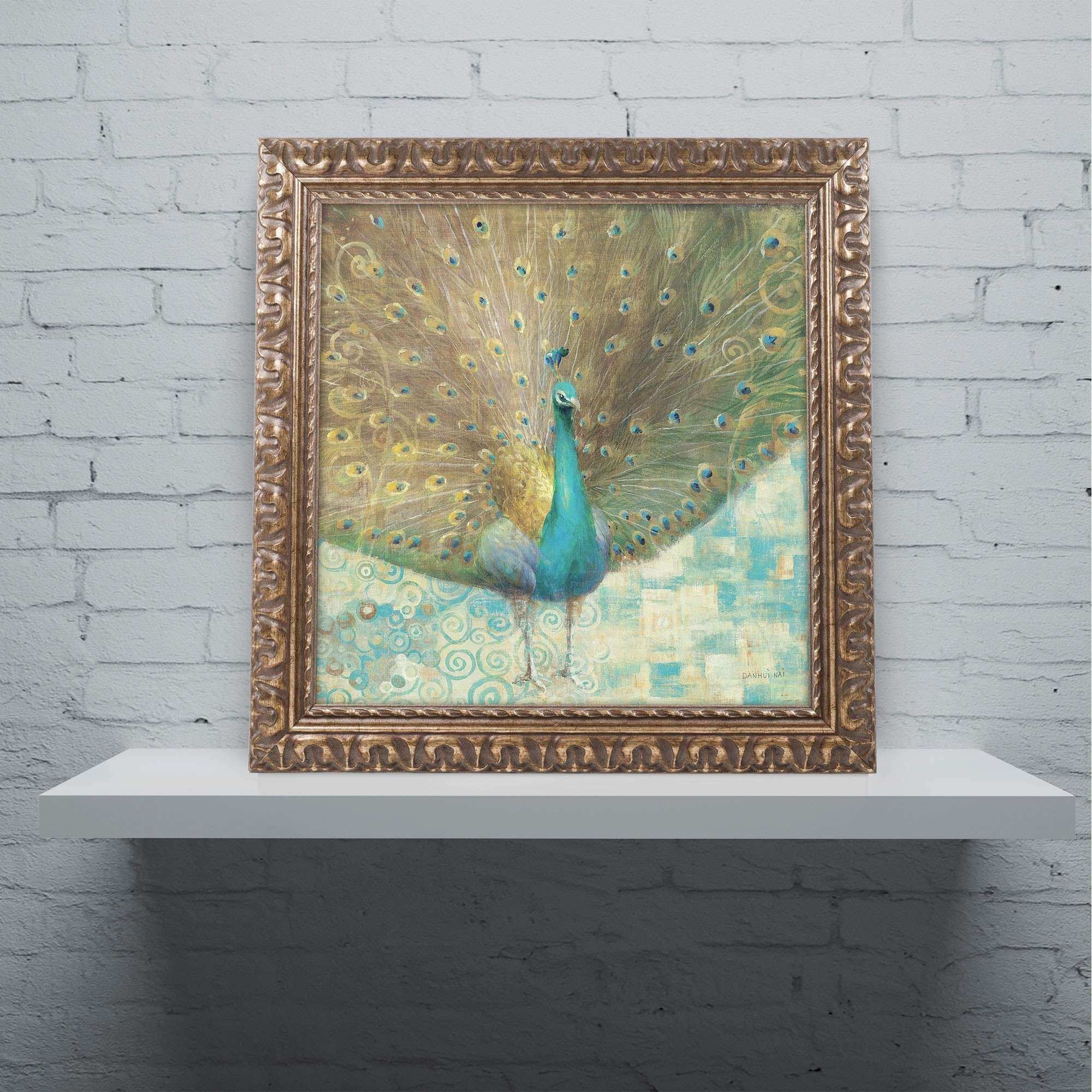 "Trademark Art ""Teal Peacock on Gold"" by Danhui Nai Framed"
