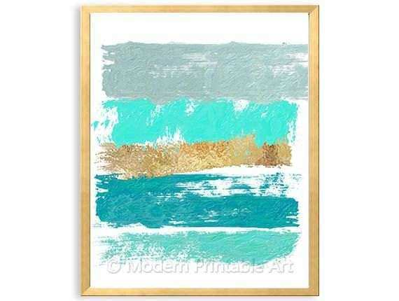 Mint Gold Turquoise Abstract PRINTABLE Wal by