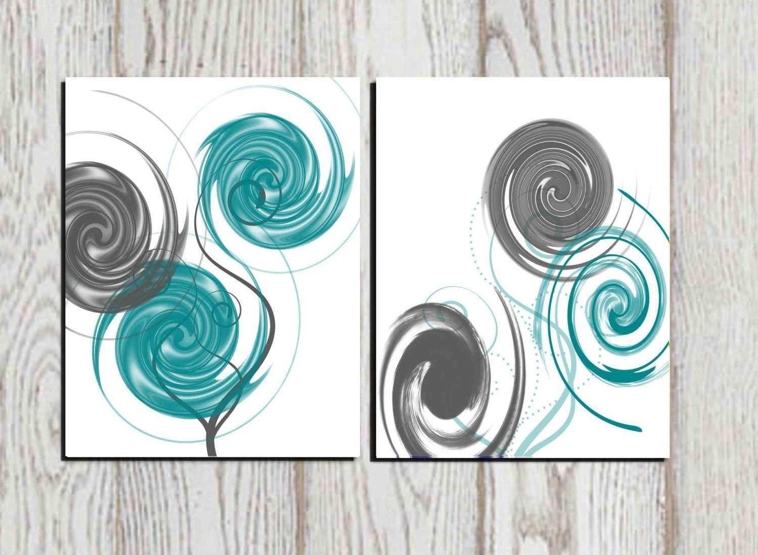 Teal And Gray Wall Decor Unique Abstract Art Print White Printable Home