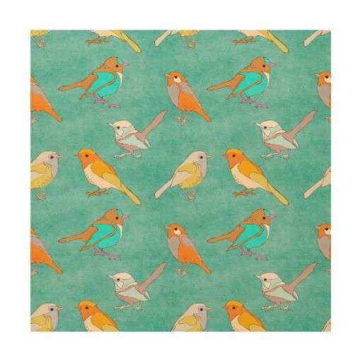 Teal and Orange Colorful Birds Pattern Turquoise Wood Wall