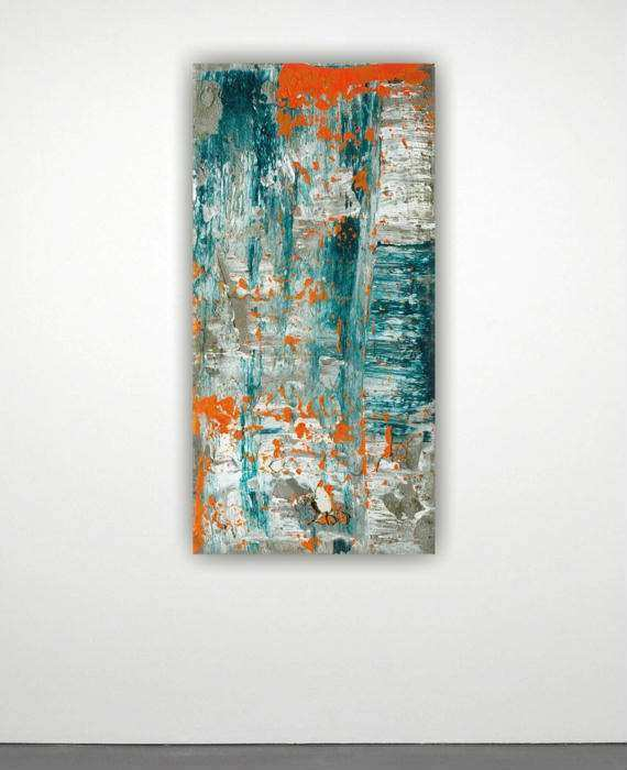 Canvas art abstract painting large wall art orange teal grey