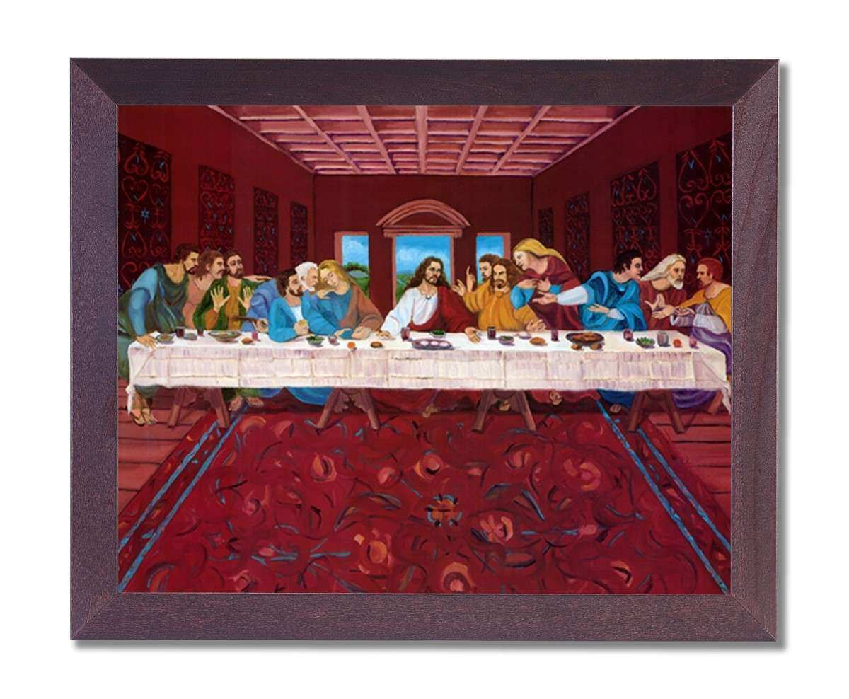 Jesus Christ The Last Supper Religious Wall Picture Black