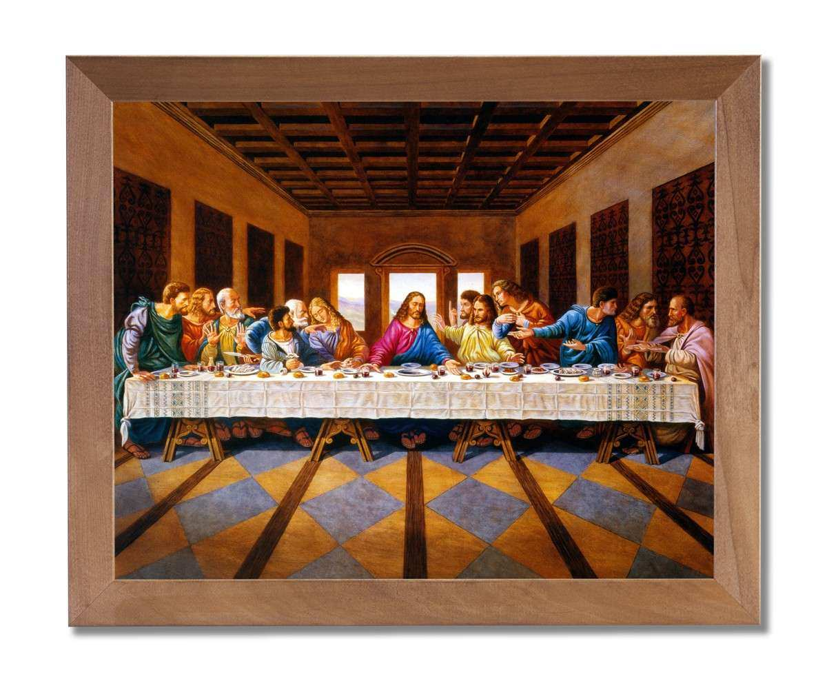 Jesus Christ The Last Supper Religious Wall Picture Honey