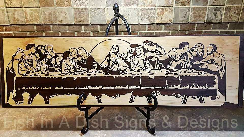 The Last Supper Wall art Stained wooden plaque Painted