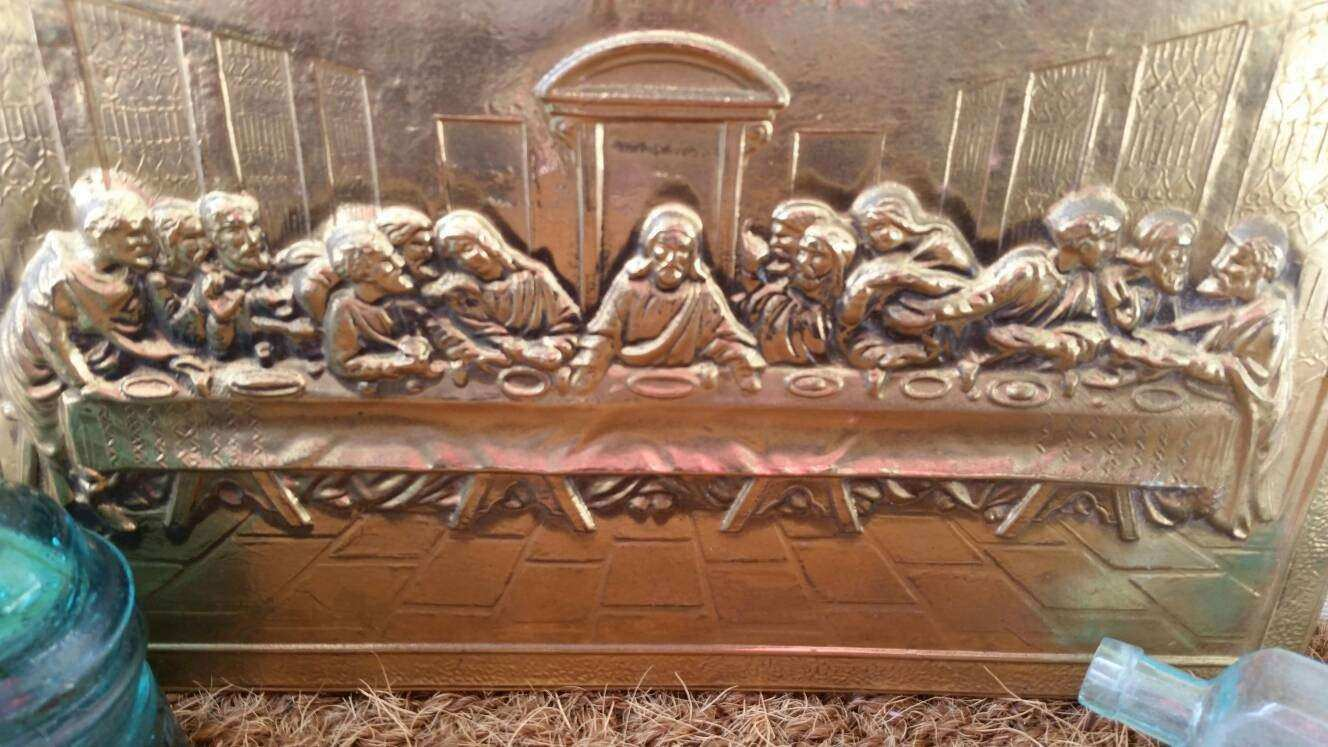 Vintage Brass Wall Art of The Last Supper Antique Wall Art