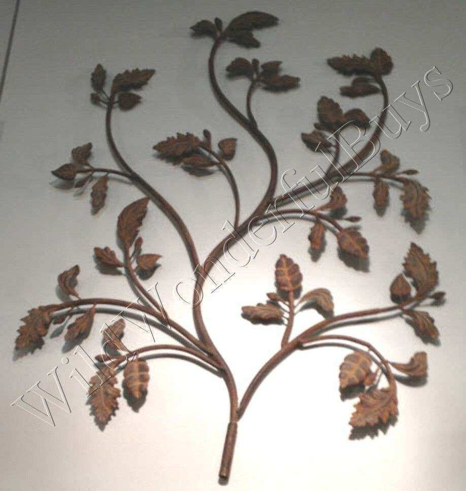 Branch & Leaf Wall Sculpture Decor Rustic Bronze Brown