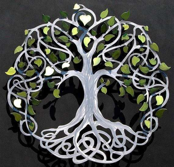 InfinityTree of Life Wall Decor Metal Tree Art With Green