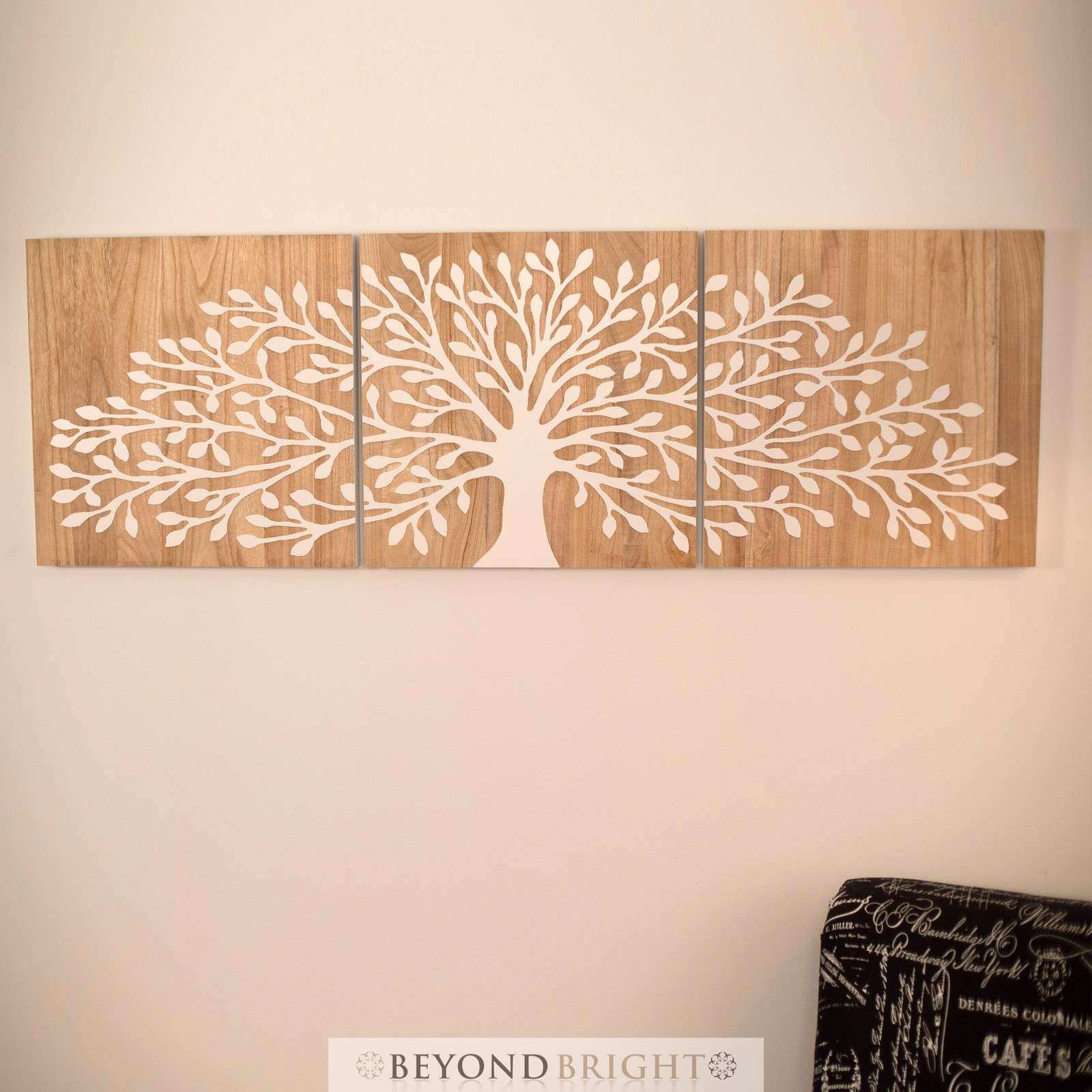 Tree of Life 50 x 50cm Reverse White 3 Panels Triptych