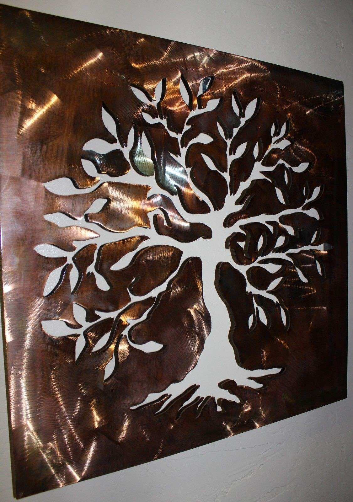 Boxed Olive Tree Tree of Life Metal Wall Art Decor
