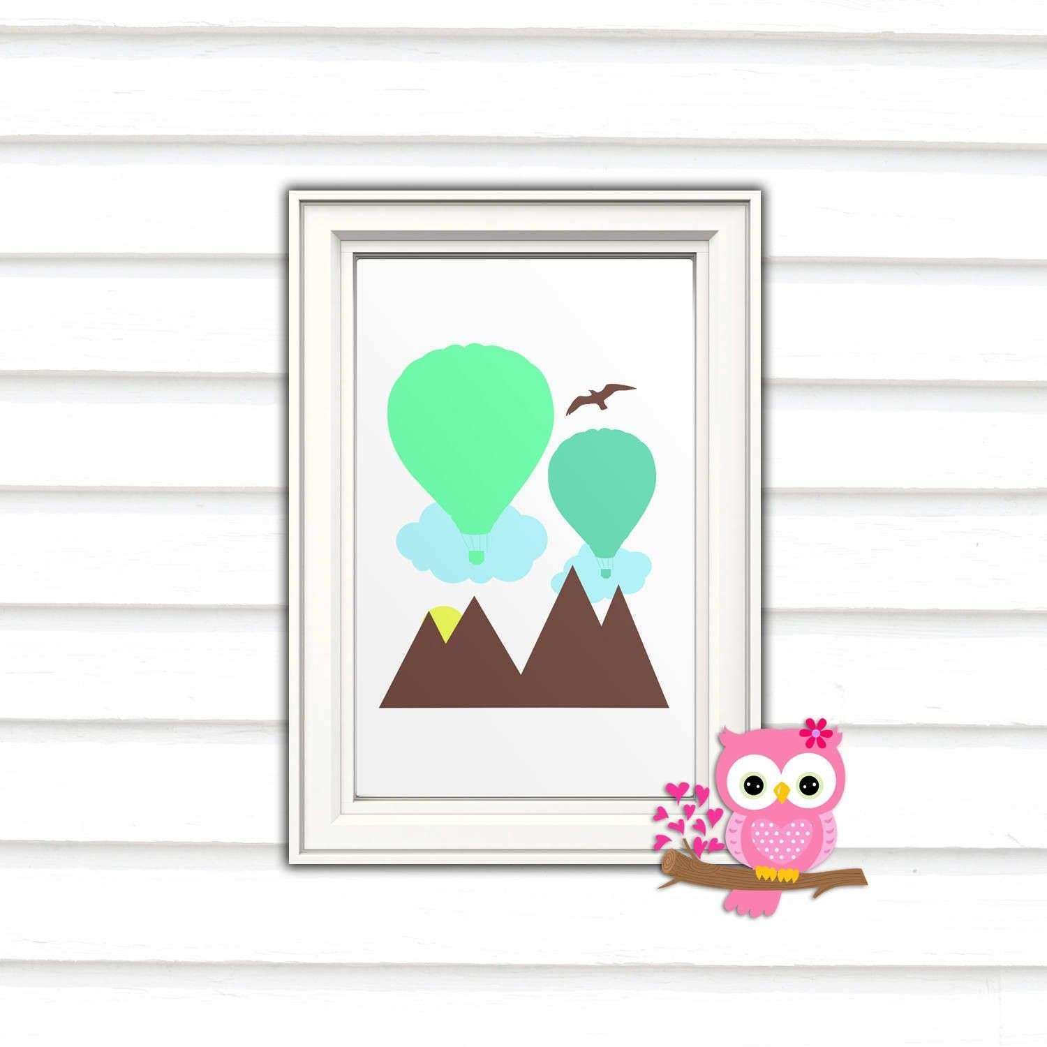 Balloon And Mountains Unique Wall Art Print HQ Posters Nursery