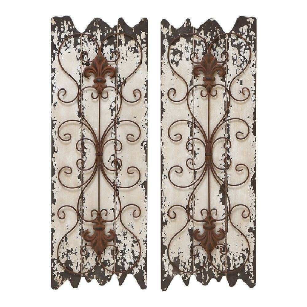 Distressed Antique Wood and Metal Rustic Decorative Wall