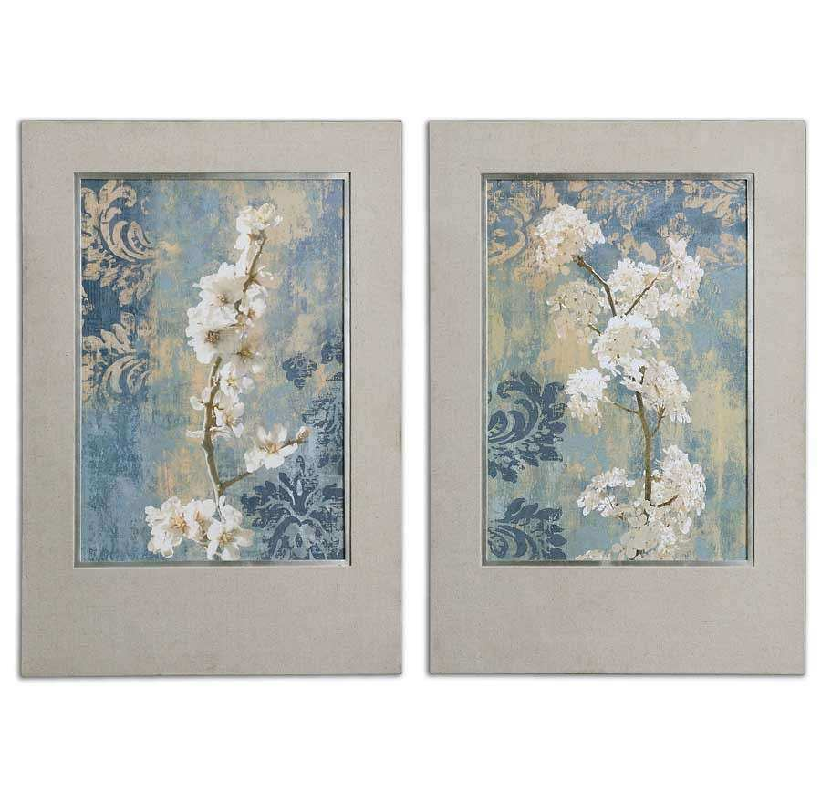 Blossoms Silver Leaf Finish Framed Art Duo Uttermost