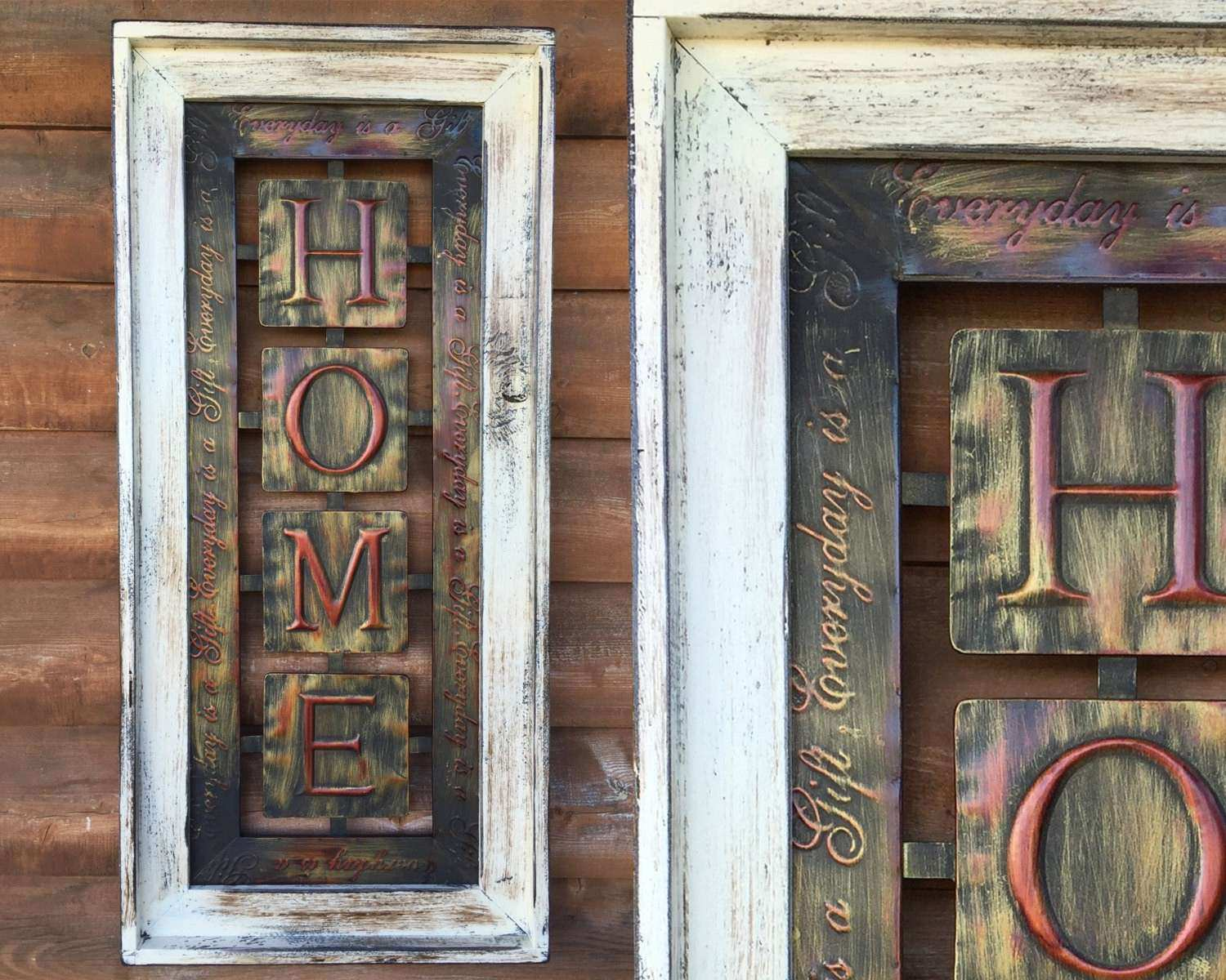 SIGN Framed Metal Wall HOME decor Vertical Unique Industrial